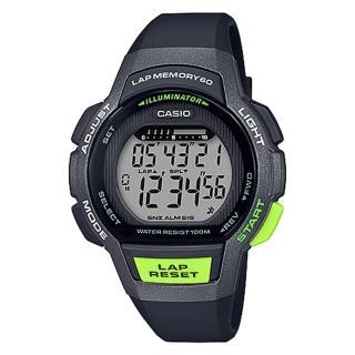 【CASIO 卡西歐】運動電子女錶 橡膠錶帶 黑X綠 防水100 米(LWS-1000H-1A)