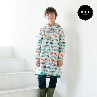 【w.p.c】空氣感兒童雨衣/超輕量防水風衣 附收納袋(白堊紀恐龍L)