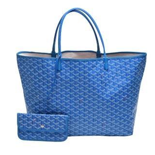 【GOYARD 高雅德】St. Louis GM 防水帆布LOGO購物包(大-藍AMALOUIS-GM10-BLUE)