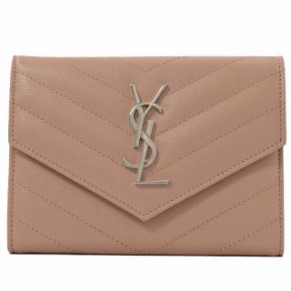 【YSL】金屬字母LOGO菱格V字信用卡護照夾(粉)