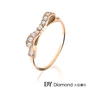 【DY Diamond 大亞鑽石】L.Y.A輕珠寶 18K玫瑰金 蝴蝶結 鑽石線戒