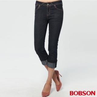 【BOBSON】女款鑽飾七分褲(深藍162-52)
