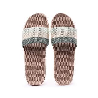 【ego life】炫彩條紋亞麻防滑男女室內拖鞋(條紋拖鞋)