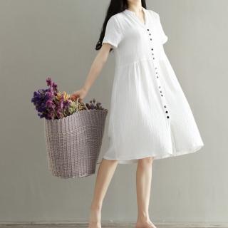 【Lockers 木櫃】森林文藝棉麻蝙蝠袖連身裙-2色(罩衫 洋裝 文藝 文青 復古)