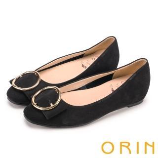 【ORIN】甜美素雅 牛皮金屬圓型釦環平底娃娃鞋(黑色)