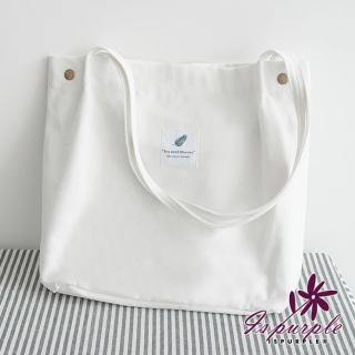 【iSPurple】森呼吸*韓風帆布大容量購物單肩包/白