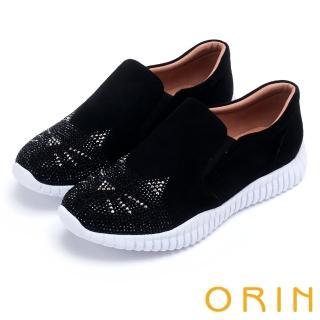 【ORIN】休閒時尚風 趣味貓咪燙鑽厚底休閒鞋(黑色)