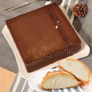 【艾波索】巧克力黑金磚方形+千層冰心泡芙5入(蘋果日報評比冠軍蛋糕)