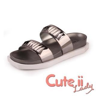 【Cute ii Lady】搶眼金屬質感舒適防滑盆底休閒拖鞋(棕)