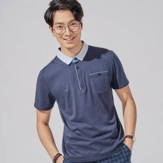【PLAYBOY】格紋領片丹寧拼接POLO衫(深藍色)