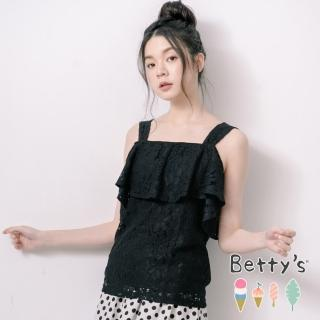 【betty's 貝蒂思】一字領肩帶蕾絲上衣(黑色)