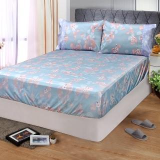 【FITNESS】精梳棉雙人床包+枕套三件組-佛洛拉(藍綠)