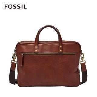 【FOSSIL】Haskell 15吋筆電 焦糖色真皮商旅公事包MBG9343222