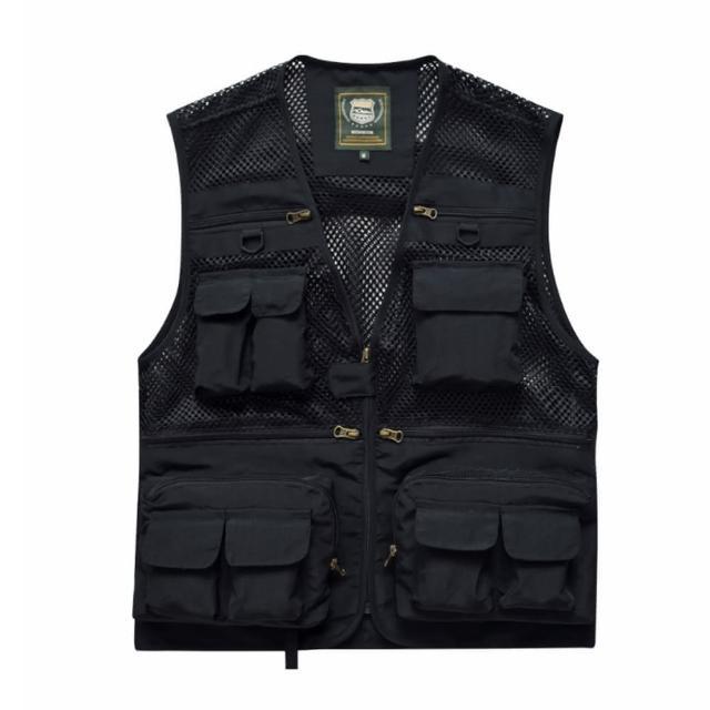 【PUSH!】戶外休閒用品多功能16口袋背心夾克戶外攝影釣魚馬甲背心(F26黑色)/