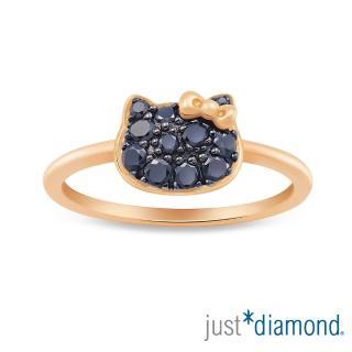 【Just Diamond】Hello Kitty黑鑽風潮18K玫瑰金系列 鑽石戒指