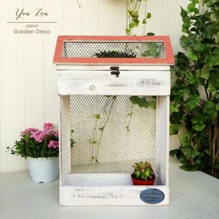 【You Zen】日本進口仿舊冷杉木角網小屋收納盒雙層花器-白(花盆/花器/種植箱/收納盒)