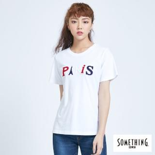 【SOMETHING】字母配色圓領短袖T恤-女款(白色)