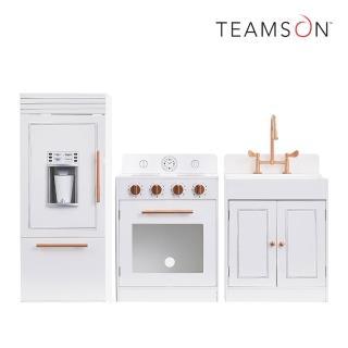 【Teamson】法式巴黎木製廚房玩具(玫瑰金白)