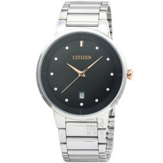 【CITIZEN 星辰】星辰簡約風格石英鋼帶錶-黑(BI5014-58E)
