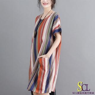 【SCL 南加州丹寧】氣質條紋大地系連身裙