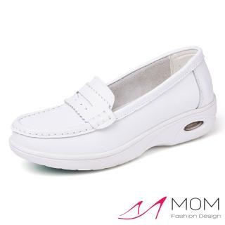 【MOM】全真皮舒適素面白色一字飾帶防滑氣墊機能護士鞋(白)