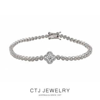 【CTJ】四葉草滿鑽一克拉白K金鑽石手鍊
