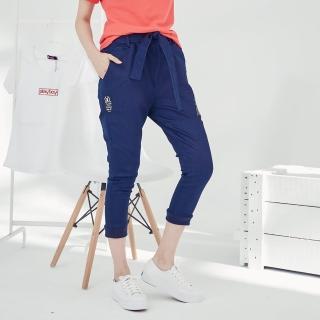 【PLAYBOY】織帶拉鍊裝飾牛仔褲(深藍色)