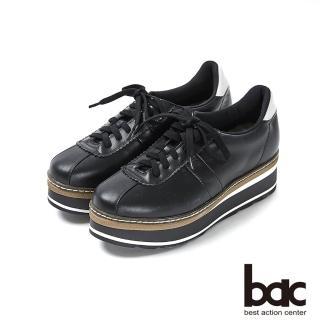【bac】加州陽光-多層厚底台運動風綁帶休閒鞋(黑色)