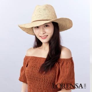 【Lorensa蘿芮】天然拉菲亞草手工編織遮陽草帽(中性款式)