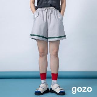 【gozo】圓弧反摺口袋抽繩鬆緊短褲(二色)