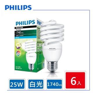 【Philips 飛利浦】25W Tornado T2 E27 螺旋省電燈泡 白光(6顆入)