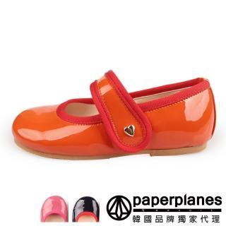 【Paperplanes】正韓製/正常版型。兒童款漆皮造型魔鬼氈設計圓頭娃娃鞋(7-9028共3色/現+預)