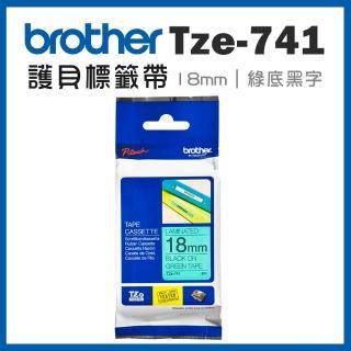 【brother】TZe-741★護貝標籤帶 18mm 綠底黑字(速達)