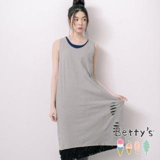 【betty's 貝蒂思】微抓破拼接蕾絲無袖洋裝(灰色)