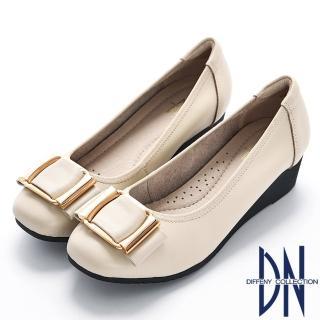 【DN】優雅簡約 柔軟真皮楔型包鞋(米)