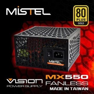 【MISTEL密斯特】VISION MX550 FANLESS 80PLUS金牌 無風扇 電源供應器(台灣製造)