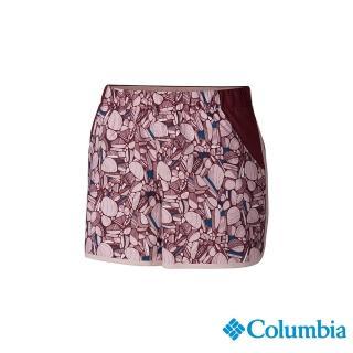 【Columbia 哥倫比亞】女款-UPF50快排彈性短褲-粉紅(UAR26010PK / 機能褲.防曬.快排)