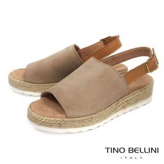 【TINO BELLINI 貝里尼】西班牙進口簡約寬帶魚口麻編楔型涼鞋A73023B(淺駝)