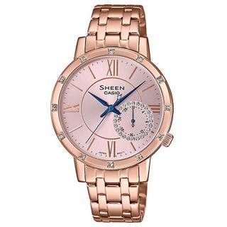 【CASIO 卡西歐】SHEEN 羅馬時刻淡雅風采不鏽鋼腕錶-玫瑰金X粉面X藍指針(SHE-3046PG-4A)