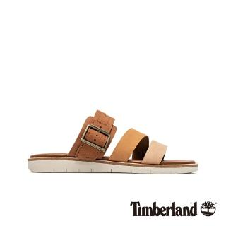 【Timberland】女款棕色撞色休閒露趾拖鞋(A1VMCK43)