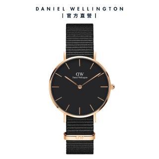 【Daniel Wellington】DW 手錶 官方旗艦店 32mm玫瑰金框 Classic Petite 寂靜黑織紋錶