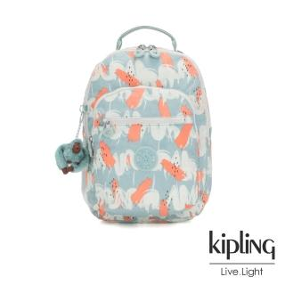 【KIPLING】湖水綠印象派塗鴉機能手提後背包-CLAS SEOUL S