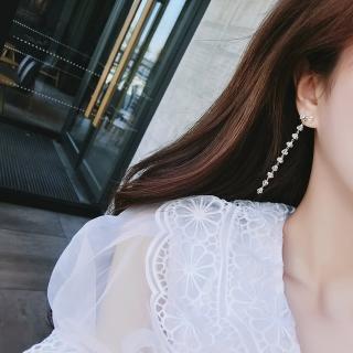 【梨花HaNA】韓國南大門晶瑩氛圍蝴蝶結水晶長耳環