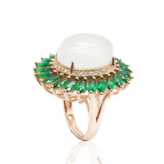 【金玉滿堂】絢麗玻璃質水沫玉戒指