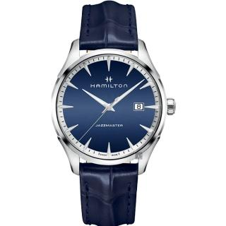 【HAMILTON 漢米爾頓】Jazzmaster 品味紳士經典大三針手錶-藍/40mm(H32451641)