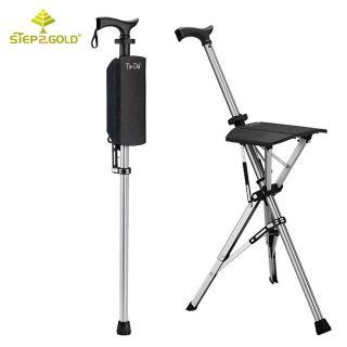 【Step2Gold】TA-DA泰達自動手杖椅(加贈竹炭護膝)