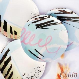 【Caldo卡朵生活】Lady Chic撞色描金陶瓷點心盤(8吋)