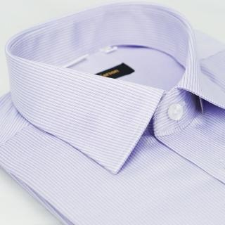 【金安德森】紫色條紋窄版短袖襯衫-fast