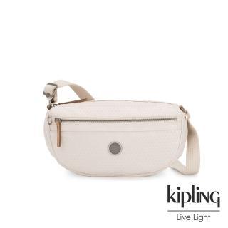 【KIPLING】低調米白菱格紋半月側背腰包-SENRA-EDGELAND系列