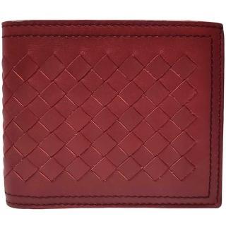 【BOTTEGA VENETA 寶緹嘉】113993 經典編織小羊皮雙線中性短夾(紅色-8卡)